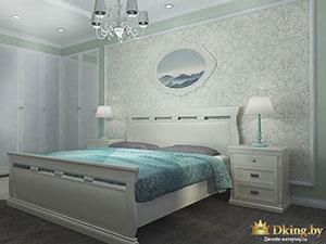 белая кровать и бирюзовые акценты в спальне коттеджа