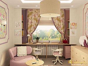 большой частный дом: планировка детской для девочки
