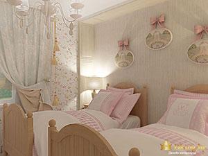 интерьер частного дома: зонирование детской для девочки