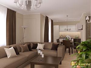 гостиная в загородном доме 100 кв.м.