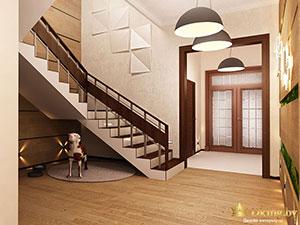 лестница на второй этаж в большом двухэтажном коттедже