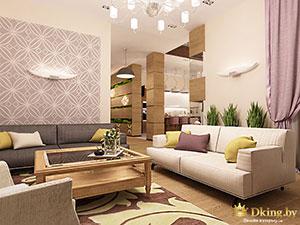 планировка первого этажа большого дома: гостиная