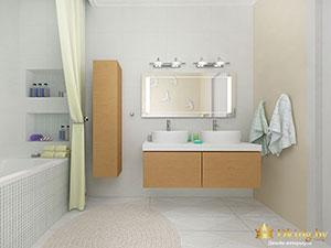 ванная в частном доме в светлых тонах
