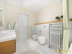 зонирование частного дома: светлый санузел