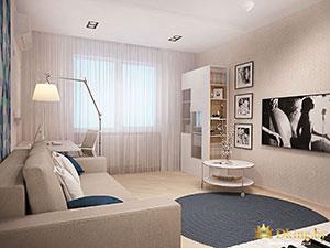 комната в светлых тонах в стандартной квартире