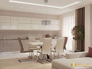 белый цвет в дизайне кухни однушки