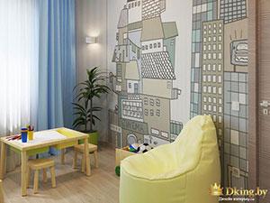 дизайн отдельной детской в квартире с двумя комнатами