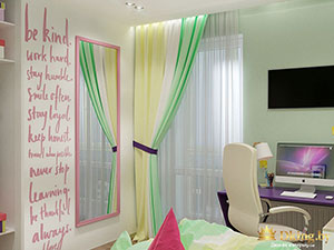 цветные шторы в комнате девочки