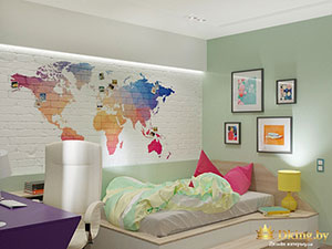 оригинальная идея дизайна детской : карта мира на кирпичной стене