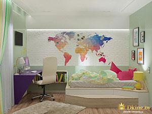 рабочее и спальное место в детской