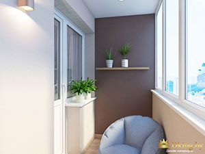 интерьер зоны отдыха на балконе