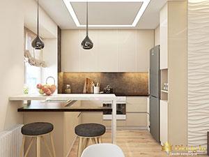 кухня с барной стойкой в двухкомнатной квартире
