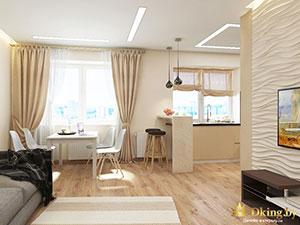 интерьер гостиной-столовой в стандартной квартире