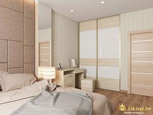 светлый шкаф-купе в интерьере спальни