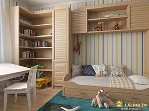шкафы с жалюзиными дверемя в интерьере детской