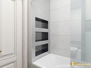 оригинальные ниши в ванной 3-комнатной квартиры