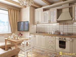 классический интерьер кухни в большой 3 комнатной квартире