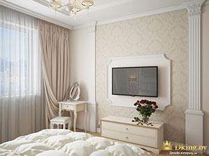 классический интерьер спальни в большой трешке