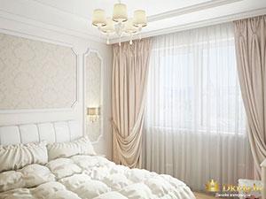 трешка 100 кв.м. : дизайн спальни с молдингами псевдоколоннами
