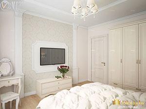 интерьер большой светлой спальни в классическом стиле