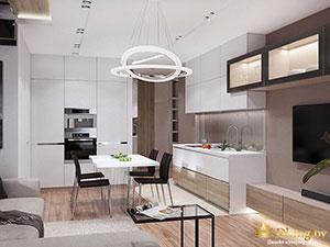 кухня на первом этаже коттеджа