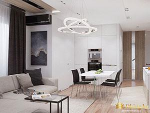 зонирвоание двухэтажного коттеджа: планировка кухни на первом этаже