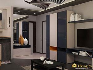 совмещенная гостиная в современном стиле
