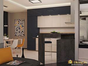 гостиная и кухня в современном доме
