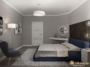 серые стены и синие акценты в интерьере 3-комнатной квартиры