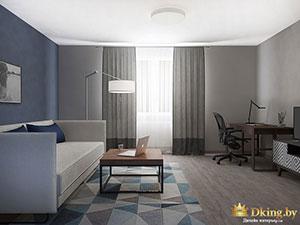 глубокий цвет стен в большой квартире