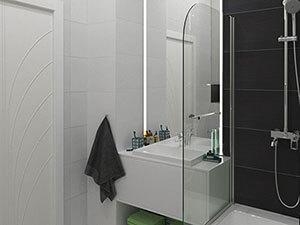 сочетание белой и черной плитки в санузле маленькой квартиры