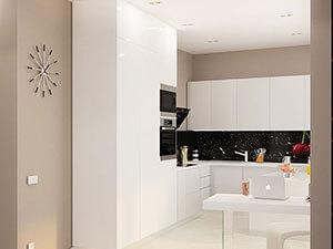 белая глянцевая кухня в интерьре маленькой квартиры