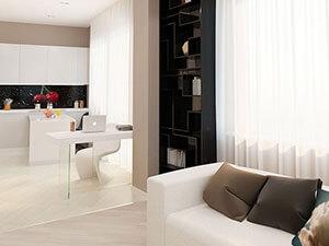 светлая мебель в дизайне 1 комнатной квартиры