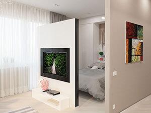 функциональная перегородка отделяет спальню от гостиной в однушке