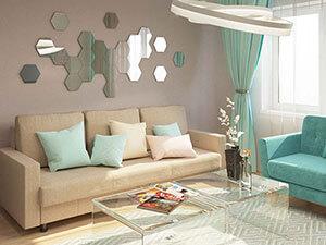 прямой диван в интерьере гостиной трешки