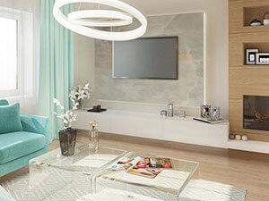 интерьер большой гостиной в трехкомнатной квартире