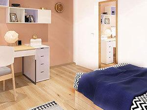 деревянный пол и светлые стены в интерьере детской комнаты 13 кв.м.