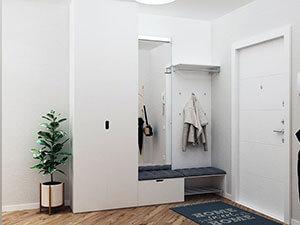белые стены и деревянный пол в интерьере квартиры