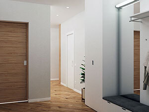 шпонированные деревянные двери и белые стены в дизайне стандартной квартиры