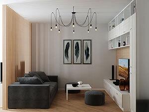 интерьер маленькой гостиной в станадартной двушке