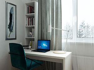 дизайн-проект маленького рабочего кабинета