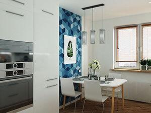 белая кухня с акцентной синей стеной