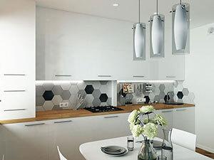 белая икеевская кухня и акцентный фартук - дизайн-проект квартиры