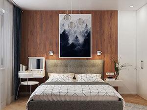 деревянная стена у изголовья кровати