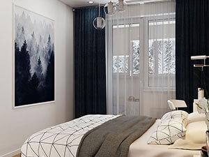 белые стены и темные шторы в спальне