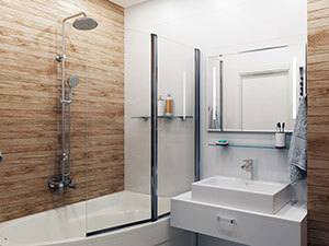 плитка под дерево на стенах ванной