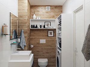 как смотрится плитка под дерево на стенах ванной комнаты