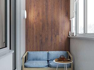 интерьер балкон - диванчик и стенка под дерево