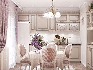интерьер классической кухни-столовой