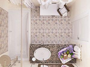 плитка с классическим принтом в интерьере ванной